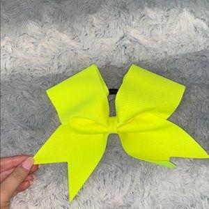 Neon yellow cheer bow